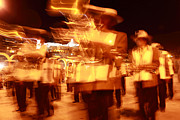 Wind Instrument Photos - Brass band at night by James Brunker