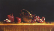 Pomegranate Prints - Brass Basket Print by Larry Preston