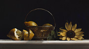 Lemons Paintings - BRASS BASKET no.2 by Larry Preston