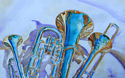 Trumpets Paintings - Brass Candy Trio by Jenny Armitage