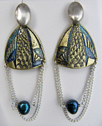 Brass Etching Jewelry - Brass Earrings Teal Chain by Brenda Berdnik