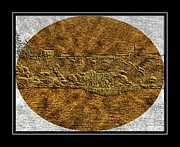 Shed Digital Art Posters - Brass Etching - Oval - Fishing Stage Poster by Barbara Griffin