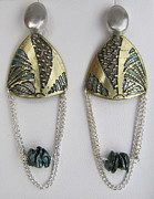 Teal Jewelry - Brass Etching Green Teal Earrings by Brenda Berdnik