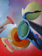 Jazz  Abstract Paintings - Brass by Fred Chuang