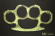 Fun New Art Posters - Brass Knuckles Poster by Monica Warhol