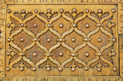 Jaipur Photos - Brass pattern on a door in the Jaipur City Palace in India by Robert Preston