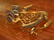 Device Digital Art Prints - Brass Sextant - 17022013 Print by Michael C Geraghty