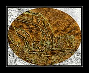 Brass Etching Photos - Brass-type Etching - Oval - Construction Worker by Barbara Griffin