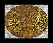 Snowy Trees Mixed Media - Brass-type Etching - Oval - Cabin Between the Trees by Barbara Griffin