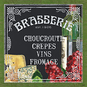 Red Wine Bottle Painting Posters - Brasserie Paris Poster by Debbie DeWitt