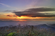 Suns Photos - Brasstown Bald at Sunset by Debra and Dave Vanderlaan