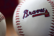 Mlb Metal Prints - Braves Baseball Metal Print by Ricky Barnard