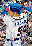 Mvp Mixed Media Prints - Braves Freeman Print by Michael Lee