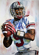 Michael Pattison Mixed Media Prints - Braxton Miller - Ohio State Print by Michael  Pattison