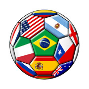 Usa Soccer. Soccer Prints - Brazil 2014 - soccer with various flags Print by Michal Boubin