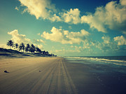 Seascape With Clouds Posters - Brazil Beach Tranquil Poster by Patricia Awapara