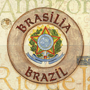 City Scape Painting Prints - Brazil Coat of Arms Print by Debbie DeWitt