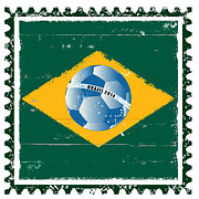 Brasil Digital Art - Brazil flag like stamp in grunge style by Michal Boubin