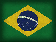 Brazil Metal Prints - Brazil Flag Vintage Distressed Finish Metal Print by Design Turnpike
