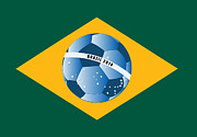 National Championship Posters - Brazil flag with ball Poster by Michal Boubin
