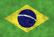 Sao Paulo Digital Art Framed Prints - Brazil Flag Framed Print by World Art Prints And Designs