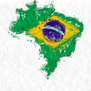 Brasil Digital Art - Brazil Painted Flag Map by Antony McAulay