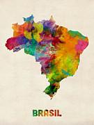 Brazil Watercolor Map Print by Michael Tompsett