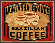 Winter Travel Posters - Brazilian Coffee Label 1 Poster by Cinema Photography