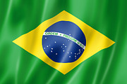 Waving Flag Digital Art - Brazilian flag by Laurent Davoust