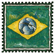 Brasil Digital Art - Brazilian flag with ball in grunge style by Michal Boubin