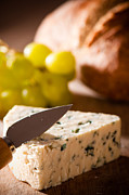 Blue Cheese Posters - Bread and Cheese With Grapes Poster by Christopher and Amanda Elwell