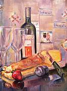 Loaf Of Bread Painting Posters - Bread and Wine Poster by Dorothy Siclare
