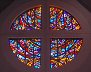 Liturgical Glass Art Posters - Bread and Wine Stained Glass Window Poster by Dawn Sinkovich