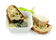 Sliced Photo Prints - Bread olive oil and vinegar Print by Elena Elisseeva