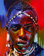 Tanzania Paintings - Break from Dancing by Stephen Bennett
