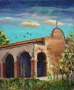 Cloudy Day Paintings - Break in the Clouds Above Mission San Juan Capistrano by Jan Mecklenburg