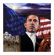 Barack Obama Painting Posters - Break of A New Horizon Poster by Jerome White