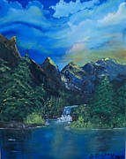 Waterfalls Paintings - Break of Dawn by Sharon Duguay