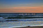 Beach Sunsets Photo Posters - Breakers at Sunset Poster by Louise Heusinkveld