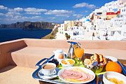 Orange Juice Prints - Breakfast at terrace Print by Aiolos Greek Collections