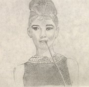 Audrey Drawings Posters - Breakfast At Tiffanys Poster by Manasa Patapatnam