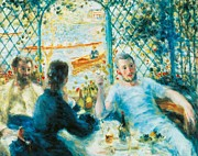 Chatting Painting Metal Prints - Breakfast by the river Metal Print by Pierre-Auguste Renoir