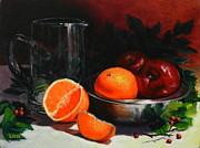 Silver Bowls Prints - Breakfast Fruits Print by Ningning Li
