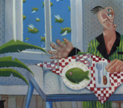 Pajamas Posters - Breakfast In Barbados 1989 Poster by Larry Preston
