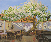 Apple Tree Posters - Breakfast near an old apple tree Poster by Victoria Kharchenko