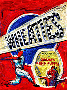 Baseball Art Mixed Media Posters - Breakfast of Champions Poster by Russell Pierce