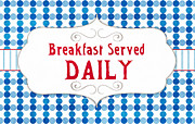 Stripes Mixed Media Posters - Breakfast Served Daily Poster by Linda Woods