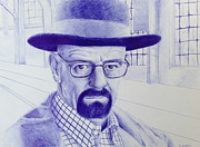 Sketchbook Mixed Media Prints - Breaking Bad Pen Drawing of Walter White Print by Kyle Calandra