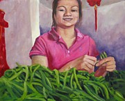Green Beans Paintings - Breaking Beans by Katrina West