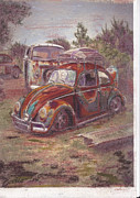 Historic Vehicle Pastels Prints - Breaking Heart Print by Sharon Poulton